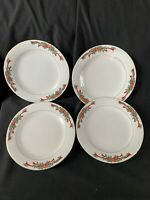 POINSETTIA & RIBBONS 15 Pc Porcelain Holiday Dinnerware Set Service For 4 EUC