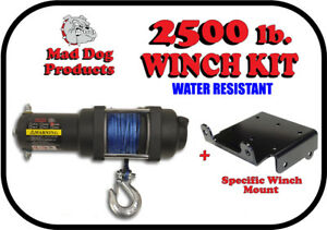 2500lb Mad Dog Synthetic Winch/Mount for '05-'16 Kawasaki Mule 600 2x4 / 610 4x4