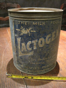 Pre 1940 Lactogen Tin with LID by Nestle marked Use Before June 26 1940