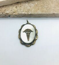 Antique Vintage 10k Gold Mother Of Pearl Caduceus Medical Locket Pendant C4