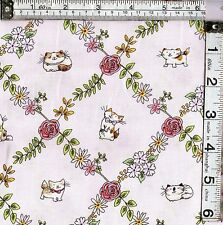PATCHWORK/CRAFT FABRIC CATS IN THE GARDEN LIGHT PINK  CUTE CATS 100% COTTON