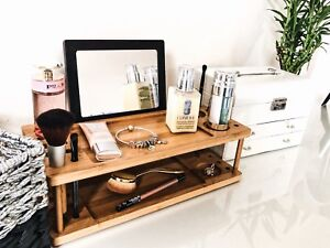 Fancy Wood MakeUp Organizer Cosmetic Holder Women Beaty Station & Vanity Tray