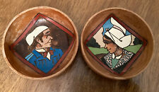 Two Small Decorative 'Yannel' Hand Painted Wooden Bowls
