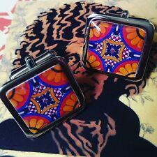 Unique! 70's RETRO DESIGN CUFFLINKS orange & blue 60's vintage GROOVY hipster