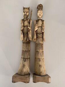 Pair Bone Carvings Of Emporer And Empress