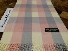NEW CASHMERE Pink Cream Blue Scarf Check Plaid SCOTLAND Wool Q18 Men Women Loop