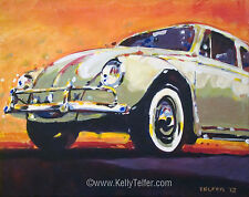 "'Tan VW Bug' Volkswagen Type I VW 1950's 11x14"" Art Print by Kelly Telfer"
