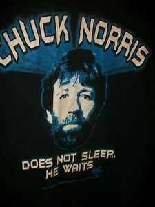 Chuck Norris XL Graphic Tee Shirt- Chuck Norris Does not Sleep -He Waits