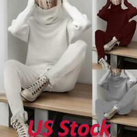 2PCS Women Casual Knitted Tracksuit High Collar Hoodies Bottom Suit Lounge Wear