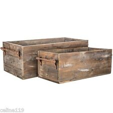 Wood Box Set with Metal Handles RUSTIC VINTAGE HOME DECOR Shabby Chic Decor