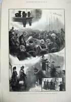 Old Antique Print 1880 Holyrood Palace Edinburgh Scotland Picture Gallery 19th