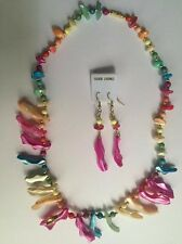 NEW MULTI COLOR REAL SHELL FASHION NECKLACE MATCHING EARRINGS SET