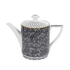 NEW TED BAKER BLACK+WHITE+GOLD CERAMIC TEA+COFFEE POT,TEAPOT(5.25 CUPS 42 OZ.)