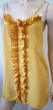 Tibi New York Gelb Seide V-Ausschnitt Rüschen Rand Ärmellos Mini Unterkleid UK8