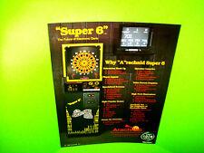 Arachnid ENGLISH MARK DARTS Super 6 Original 1987 NOS Arcade Game Promo Flyer