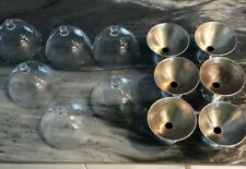 Six Etched Glass Sherbet or Ice Cream Dishes with Chrome Bases