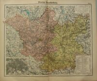 1908 Antik Landkarte ~ Brandenburg Berlin Umgebung Frankfurt Landsberg