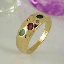 Echtschmuck im Band-Stil aus Gelbgold mit Smaragd für Damen Ringe