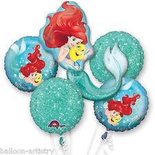 5 Piece Disney Princess Ariel Little Mermaid Children's Party Balloon Bouquet