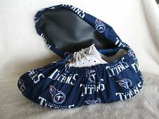 Tennessee Titans bowling shoe covers. Fits shoe size 10-12. Handmade, cotton.