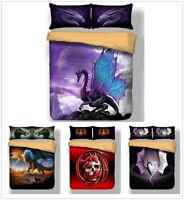 3D Flying Dragon Alien Skull Bedding Set Quilt/Duvet/Doona Cover Pillowcase 3PCS