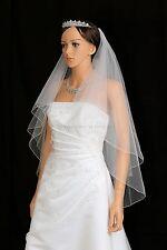 2T White Fingertip Length Pencil Edge Center Gathered Bridal Wedding Veil