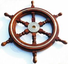 """18"""" Collectable Wooden Ship Wheel Pirate Captain Boat Steering Christmas Gift"""