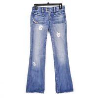 Diesel Womens Sz 24 Blue Jeans Medium Wash Mid Rise Distressed