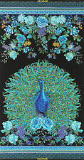 Enchanted Plume Peacock 100% Cotton Quilting Fabric Panel Timeless Treasures