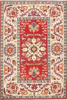Geometric Oriental Super Kazak Area Rug RED Wool Hand-Knotted NEW Carpet 3x4 ft