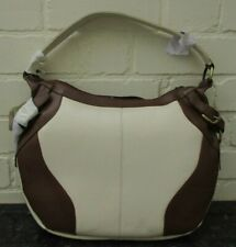 Tommy & Kate genuine leather large cream & brown hobo bag