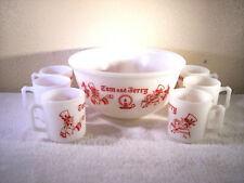 Vintage Hazel Atlas 7 pc Tom & Jerry Egg Nog Set Excellent Conditiion!
