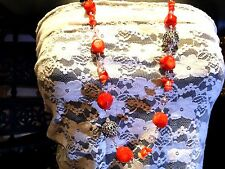 Vintage Enhanced Orange Real Coral Crystal Beaded Draping Statement Necklace