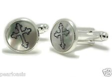 Mother of Pearl Cufflinks, Cross Symbol Engraved, Silver Plated Base metal