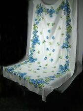 Tablecloth Napkin Set 10 Blue Flowers Floral Cotton 52 x 86 In Rectangle Stains