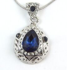 Women's 9 Carat White Gold Plated Blue Crystal Zircon Necklace Jewellery