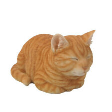 Sleeping ORANGE TABBY CAT  Life Like Realistic Home Garden Decor Figurine Statue
