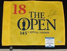 HENRIK STENSON Signed 2016 The OPEN 145 Royal Troon Golf FLAG + BAS COA #G85403