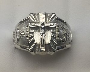 Crucifix Cross ring Sacred Heart of Jesus Holy spirit Solid Sterling Silver 925