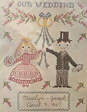 "Our Wedding Linen Embroidered Cross Stitch Sampler Kit 10"" x 13"" Vintage New"