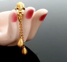 1960s Fleur de Lys & Tropfen Perlen vergoldete Ohrclips Ohrringe