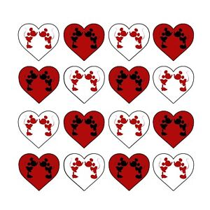 24x Mickey Minnie Valentine Edible Cupcake Toppers Wafer Paper 4cm (uncut)