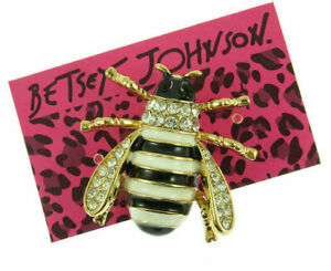 Crystal Enamel Cute Yellow bee Betsey Johnson Charm Women's animal Brooch Pin