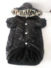 Pet Dog Black Puffy Coat Tiger Fur Trim Puppy Fleece Lined Jacket Sz XXL