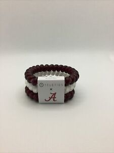 Teleties 3 Pack Large Hair Ties Alabama Red White Ponytail Holder Bracelets NEW