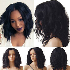 40cm Thick Black Lace Front Wig 100% Heat Resistant Hair Natural Wavy Curly Bob