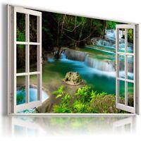 WATERFALL THAILAND CASCADE 3D Window View Canvas Wall Art Picture W360 MATAGA