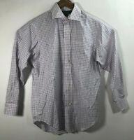 Polo Ralph Lauren Men's Size 15 1/2 Non Iron Pink Blue Plaid Button Front Shirt
