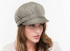 BRAND NEW LADIES GREEN QUILTED FASHION STYLE WINTER BAKERBOY CASUAL CAP GILLIAN