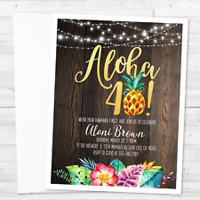 8 Luau Aloha Hawaiian Invitations 20, 30, 40, 50, 60, etc Birthday Personalized